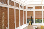 Wooden Venetian blinds in conservatory in Grimsby